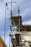 Scaffolding. On the side of a residential house Stock Image
