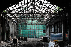 Scaffolding Stage with green canvas in ruins, china bamboo opera building. In Hong Kong Royalty Free Stock Image