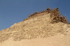 A Scaffolding at the Step Pyramid of Saqqara in Egypt Stock Images