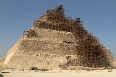 A Scaffolding at the Step Pyramid of Saqqara in Egypt Stock Image