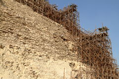 A Scaffolding at the Step Pyramid of Saqqara in Egypt Royalty Free Stock Image
