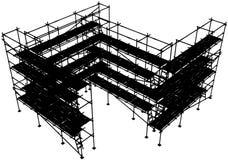 Scaffolding Structure. Horizontal construction scaffolding structure vector silhouette, isolated Stock Photos