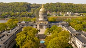 Scaffolding Surrounds the Capital Dome Supporting Workers in Charleston West Virginia. The State Capital of West Virginia get some refurbishing spring of 2019 royalty free stock image