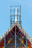 Scaffolding on Thai Temple Roof Stock Photography