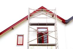 Scaffolding tower renovation old house, Netherlands Stock Photos