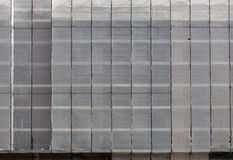 Scaffolding under covers, tarpaulins, wraps Royalty Free Stock Photography