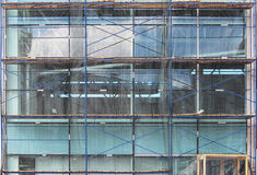 Scaffolding used as the temporary structure to support platform, form work and structure at the construction site.Repair of a larg Stock Photo