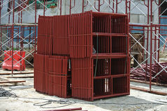 Scaffolding used to support a platform or form work. SELANGOR, MALAYSIA -FEBRUARY 11, 2015: Scaffolding used to support a platform or form work as the temporary Royalty Free Stock Photos