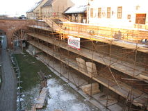 Scaffolding on the walls of a historic building Stock Image
