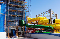 Scaffolding and water attraction pipes. Photo taken at the construction of the water park `Limpopo` in the city of Orenburg. Russia. 04/21/2012 Royalty Free Stock Image