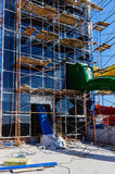 Scaffolding and water attraction pipes. Photo taken at the construction of the water park `Limpopo` in the city of Orenburg. Russia. 04/21/2012 Stock Images
