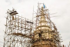 Scaffolding wood of construction pagoda. Stock Images