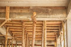 Scaffolding wood for small building construction stock images