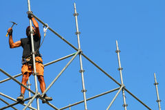 SCAFFOLDING WORKER Stock Photography
