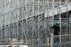Scaffolding and worker Royalty Free Stock Image