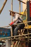Scaffolding worker in Hong Kong Stock Photo