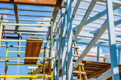 Scaffolds of bright colors Royalty Free Stock Photography