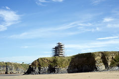 Scafolding around ballybunion castle Royalty Free Stock Photo
