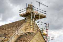 Scafolding round a residential property Royalty Free Stock Photos