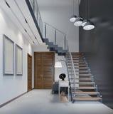 Scala al secondo piano ad un appartamento moderno con le inferriate del metallo ed ai punti di legno con le grandi lampade di pen illustrazione vettoriale