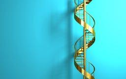 Scala a chiocciola dorata sulla parete blu Fotografia Stock
