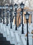Scala con le lampade di via Fotografia Stock Libera da Diritti