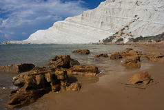 Scala dei Turchi. In the province of Agrigento (Sicily). It is consists of a prominent outcrop of white rock on the sea and the form that this monument natural Stock Images