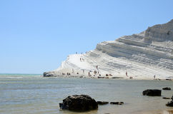 Scala dei turchi. The Scala dei Turchi (Stair of the Turks) is a rocky cliff on the coast of Realmonte, near Porto Empedocle, southern Sicily, Italy. It has Royalty Free Stock Photo