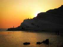 Scala dei Turchi at dusk Agrigento Italy Royalty Free Stock Images