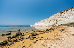 Scala dei Turchi is a fascinating limestone rock steep on a wond Royalty Free Stock Photography
