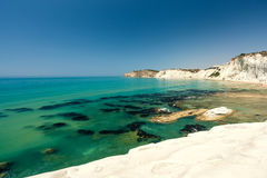 Scala dei Turchi is a fascinating limestone rock steep on a wond Stock Photography