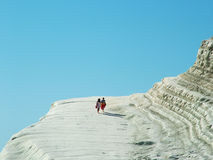 Scala dei turchi. La Scala dei Turchi is a cliff overlooking the sea near the Porto Empedocles, in the province of Agrigento Sicily Stock Photo
