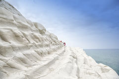 Scala Dei Turchi. Is a rocky cliff on the coast of Realmonte, near Porto Empedocle, southern Sicily, Italy. The Cliff has been formed by the Sea Stock Image