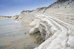 Scala Dei Turchi. Is a rocky cliff on the coast of Realmonte, near Porto Empedocle, southern Sicily, Italy. The Cliff has been formed by the Sea Royalty Free Stock Images