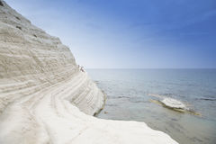 Scala Dei Turchi. Is a rocky cliff on the coast of Realmonte, near Porto Empedocle, southern Sicily, Italy. The Cliff has been formed by the Sea Stock Photo