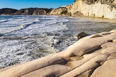 Scala dei Turchi. A rocky cliff on the coast of Realmonte, southern Sicily royalty free stock images