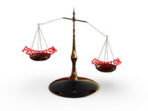 Scala dell'equilibrio con ottimismo e pessimismo di parole Immagini Stock Libere da Diritti
