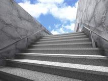 Scala della scala lungo il muro di cemento Backgr moderno di architettura Immagini Stock