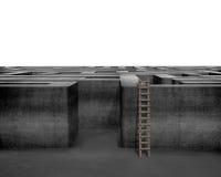 Scala di legno con labirinto concreto 3D Fotografia Stock Libera da Diritti