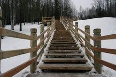 Scala di legno con recintare all'aperto Immagine Stock Libera da Diritti