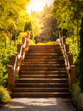 Scala di legno di Seattle Washington fatte in fotografia a colori Immagini Stock Libere da Diritti