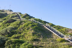 Scala di legno lunghe alla cima di alta duna Fotografie Stock