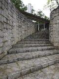 Scala di pietra della curva Fotografia Stock