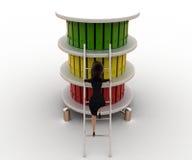 scala di salita della donna 3d per completare concetto degli archivi Immagini Stock Libere da Diritti