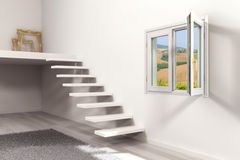 Scala e finestra fotografia stock
