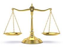 Scala equilibrata dell'oro su bianco Fotografia Stock Libera da Diritti