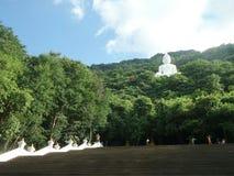 Scala a grande Buddha bianco sulla montagna verde sotto cielo blu Fotografia Stock
