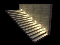 Scala moderna con i punti retroilluminati Illuminazione morbida di notte illustrazione 3D Fotografia Stock Libera da Diritti