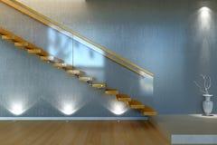 Scala moderna dall'inferriata di legno e di vetro Fotografia Stock