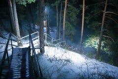 Scala nel legno di inverno alla notte Immagini Stock
